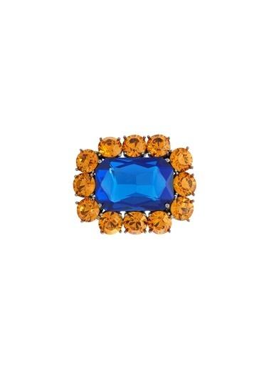 Ninon Ninon Square Mandarin & Midnight Blue Kristal Broş Oranj